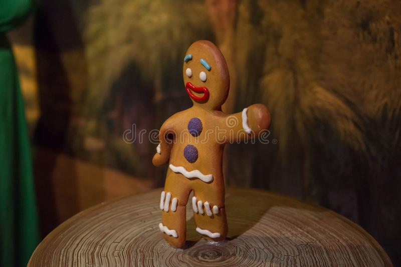 The Gingerbread Man in the museum of Madame Tussauds. The Gingerbread Man also known as Gingy is a gingerbread cookie that was baked by the Muffin Man. He is a stock photo