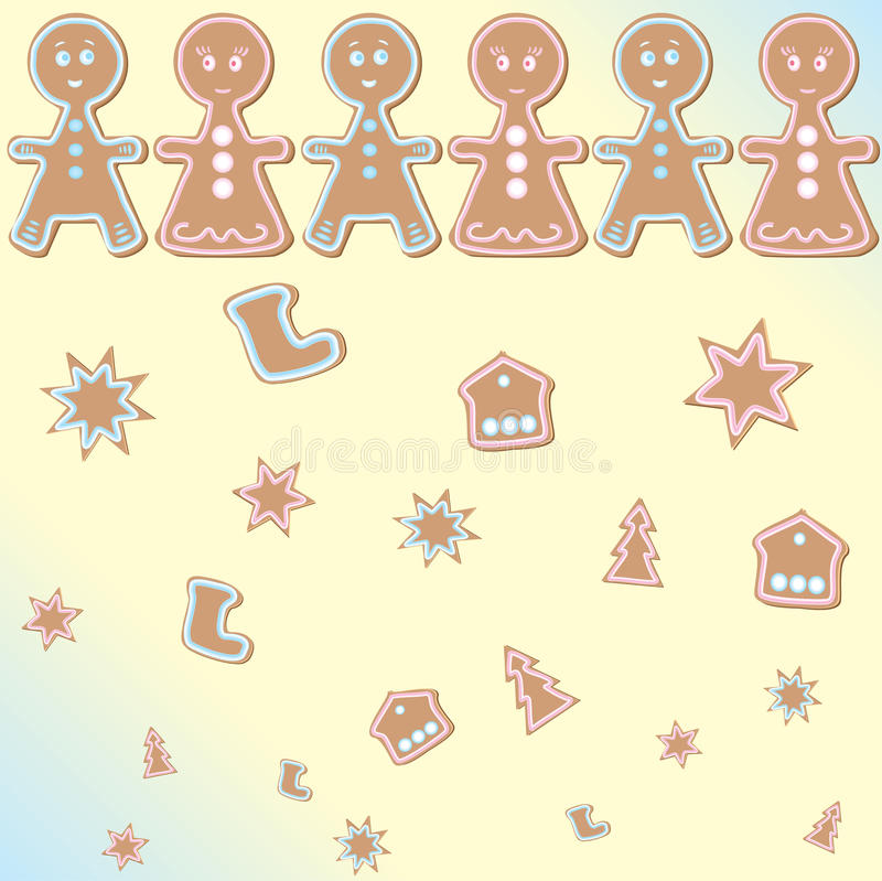 Gingerbread man background. Abstract gingerbread star house tree shoos Christmas family hand made background illustration stock illustration