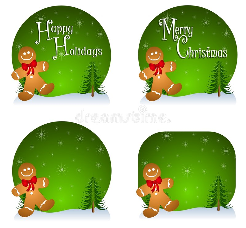 Gingerbread Man Backgrounds. A background illustration featuring gingerbread men and your choice of 'Happy Holidays', 'Merry Christmas' or blank stock illustration