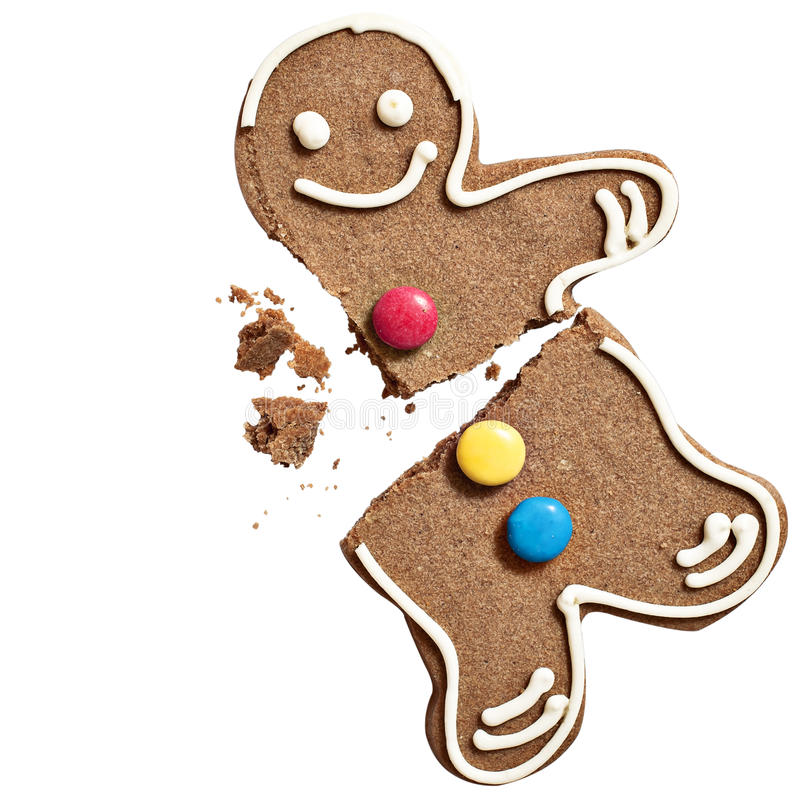 Gingerbread man biscuit. On white stock photography
