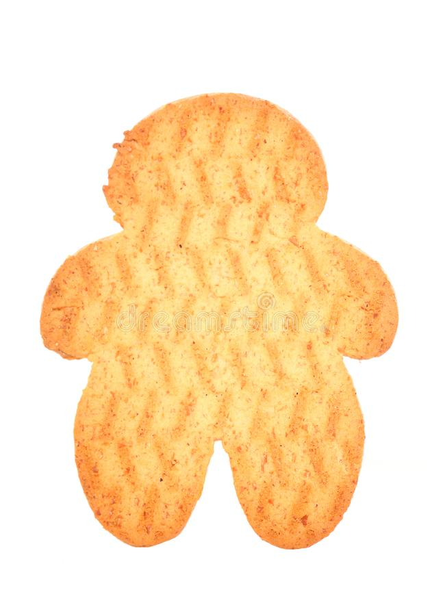 Gingerbread man biscuit. Cut out royalty free stock photography
