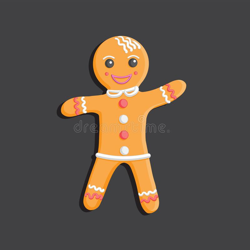 Gingerbread man Christmas cookie character on dark isolated background. Design element. Vector illustration. Eps 10 vector illustration