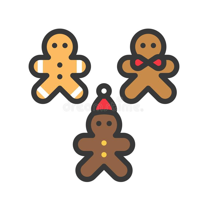 Gingerbread man christmas cookie icon set. editable outline. Gingerbread man christmas cookie icon set editable outline stock illustration