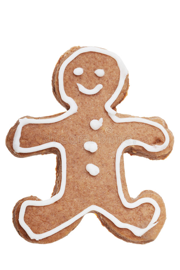 Gingerbread Man Christmas cookie. Isolated on white royalty free stock photo