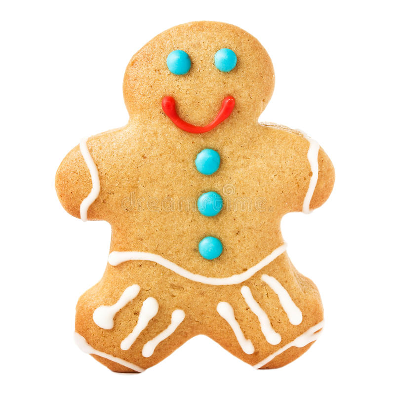 Gingerbread Man Christmas Cookie isolated on white background, c royalty free stock photography