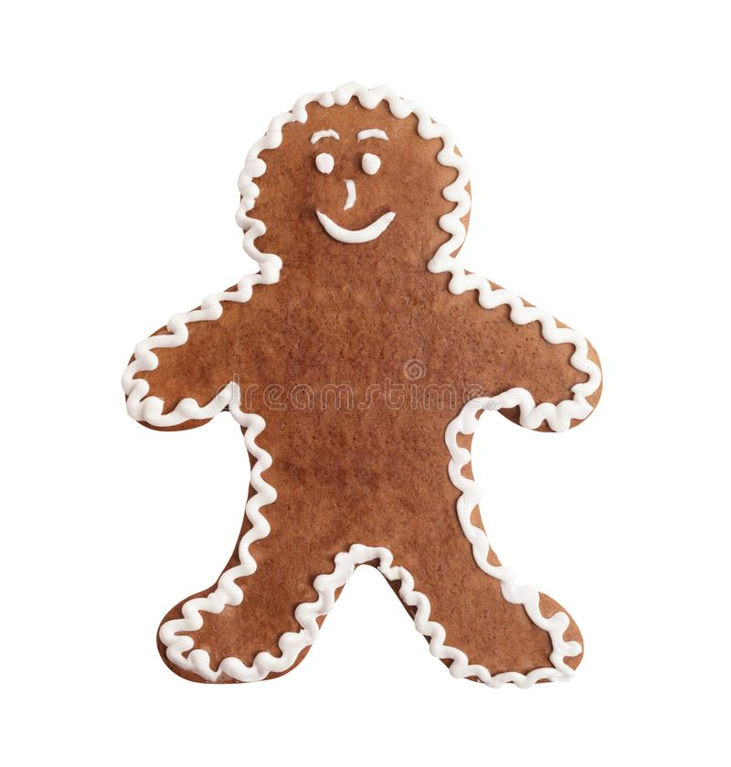 Gingerbread man, christmas cookie isolated. On a white background royalty free stock images