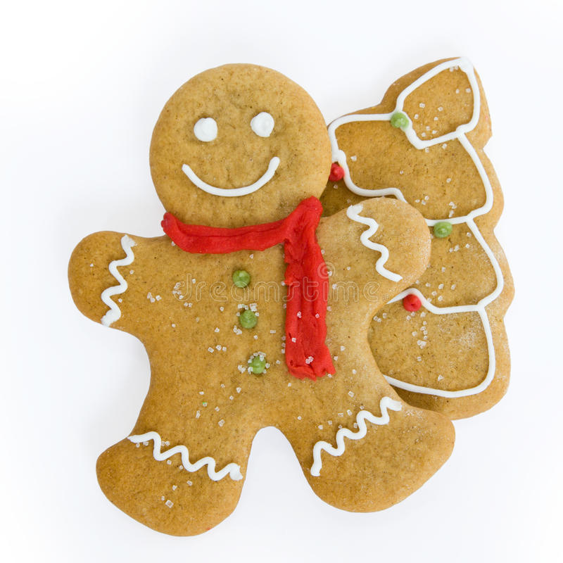 Gingerbread man and Christmas tree royalty free stock photos