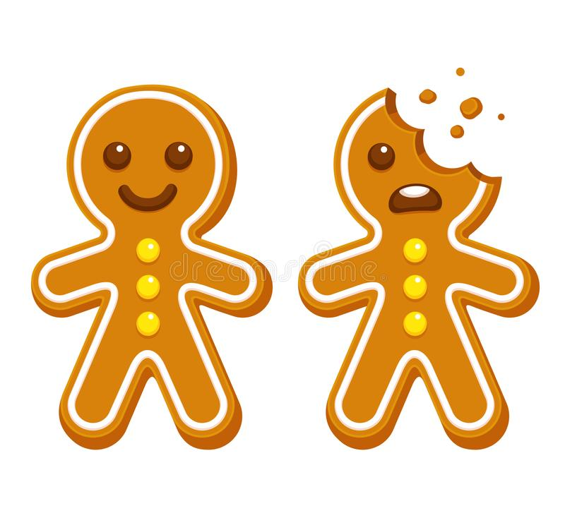 Gingerbread man cookie. Cartoon gingerbread man whole and with head bite. Funny Christmas cookie vector illustration vector illustration
