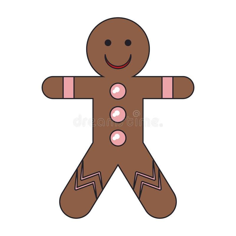 Gingerbread man cookie cartoon vector illustration. Graphic design stock illustration
