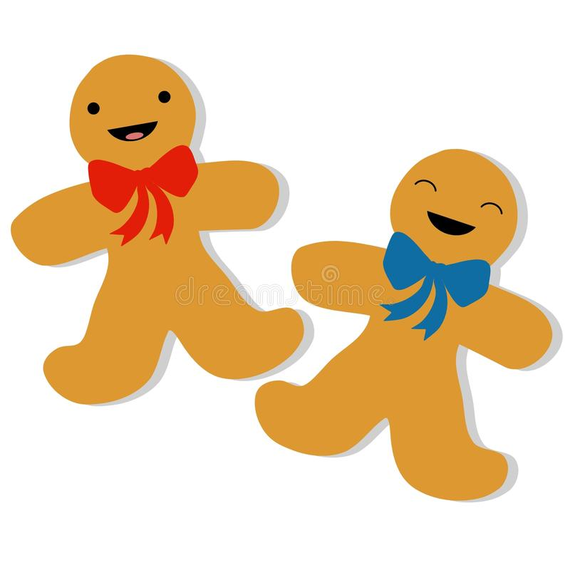 Gingerbread Man Cookies. A simple illustration featuring a pair of gingerbread men wearing bows vector illustration