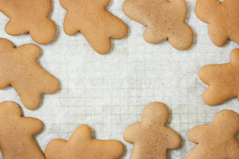 Gingerbread man cookies Christmas and New Year holiday. Baking treat traditional for kids royalty free stock photography