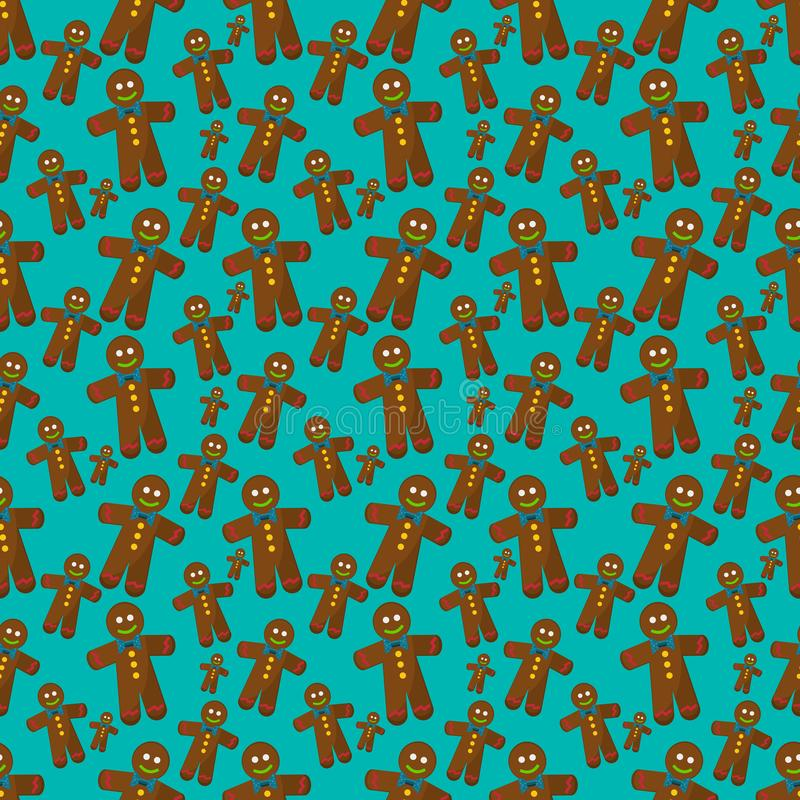 Gingerbread man cookies seamless pattern vector illustration background for christmas concept.  royalty free illustration