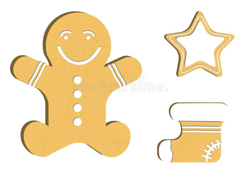 Gingerbread man decorated colored icing. Qualitative vector illustration for new year`s day, christmas, winter holiday stock illustration