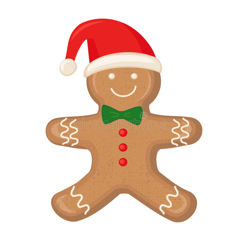 Gingerbread man is decorated colored icing on white background. Cute vector card illustration with Gingerbread man for christmas, winter holiday, cooking, new royalty free illustration