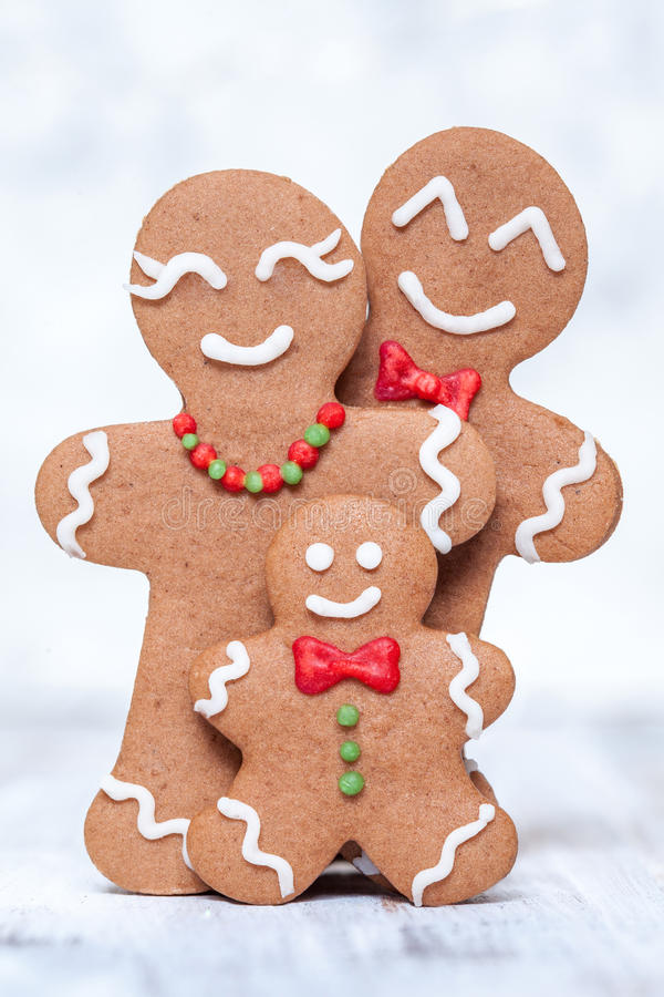 Gingerbread man family. Christmas decoration with Happy Gingerbread man family royalty free stock image