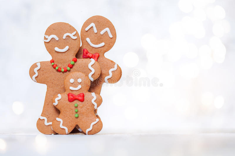 Gingerbread man family. Christmas decoration with Happy Gingerbread man family royalty free stock photos