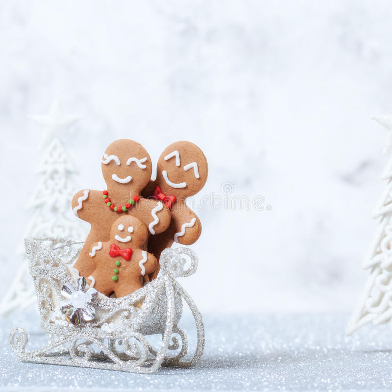 Gingerbread man family. Christmas decoration with Happy Gingerbread man family stock photos