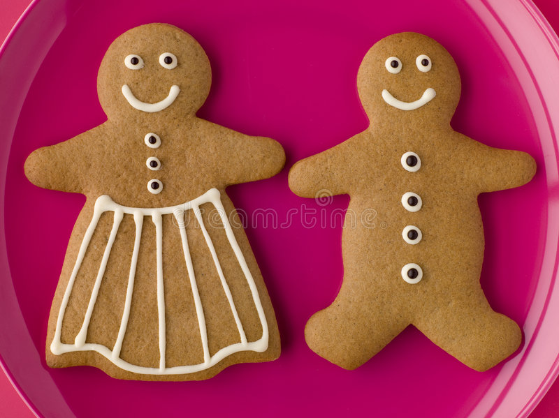 Gingerbread Man and Gingerbread Woman. High angle view of Gingerbread Man and Gingerbread Woman royalty free stock images