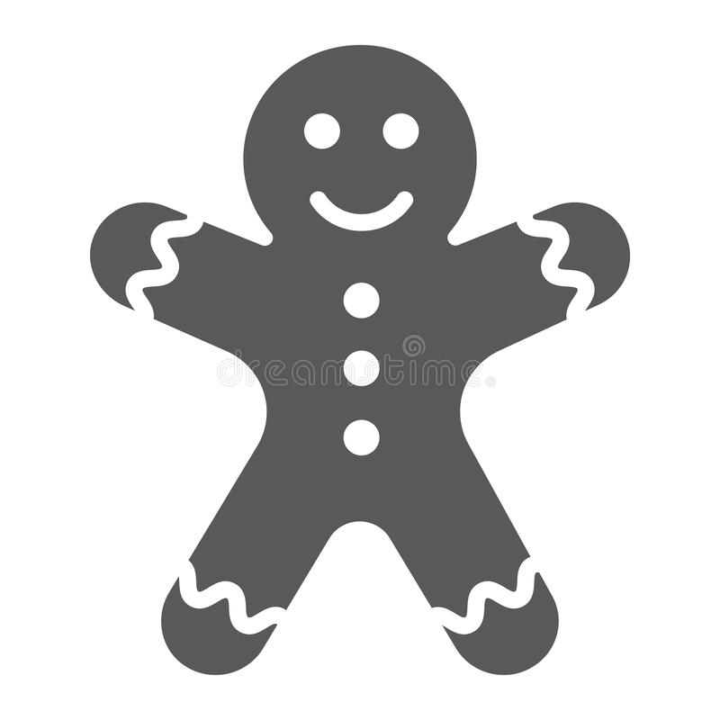 Gingerbread man glyph icon, christmas and sweet, cookie sign, vector graphics, a solid pattern on a white background. Gingerbread man glyph icon, christmas and vector illustration