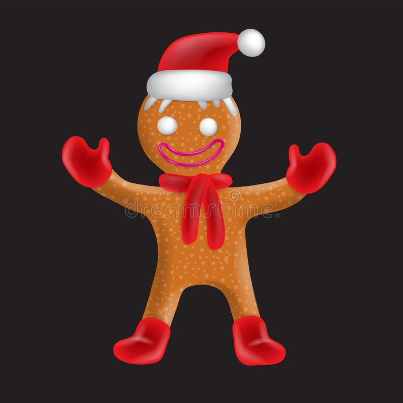 Gingerbread man in hat mittens boots scarf on black isolated background. Vector image. Design element. Eps 10 stock illustration