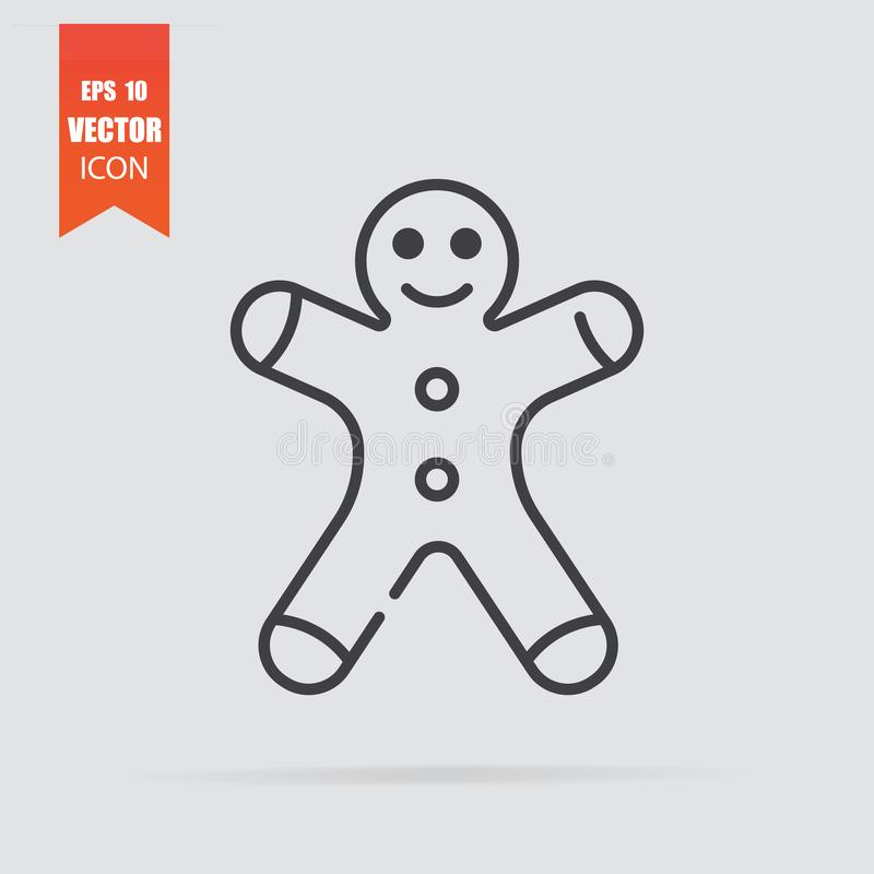 Gingerbread man icon in flat style isolated on grey background. For your design, logo. Vector illustration stock illustration