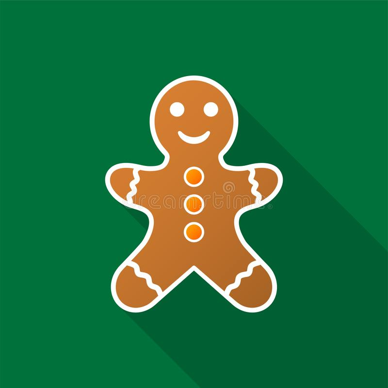 Gingerbread man icon with long shadow on green background. Vector Illustration EPS 10 vector illustration