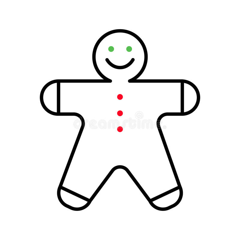 Gingerbread man icon on a white background Vector flat line. Gingerbread man icon on a white background. Vector flat line stock illustration