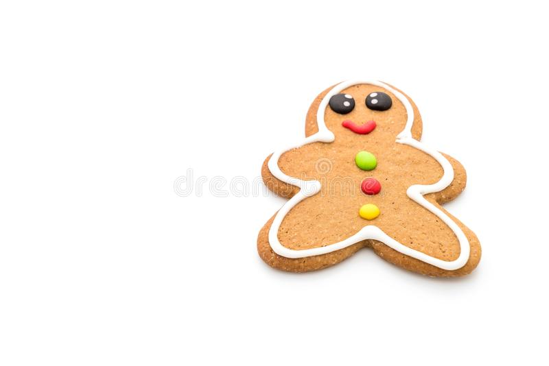 Gingerbread man isolated on white. Background stock photos