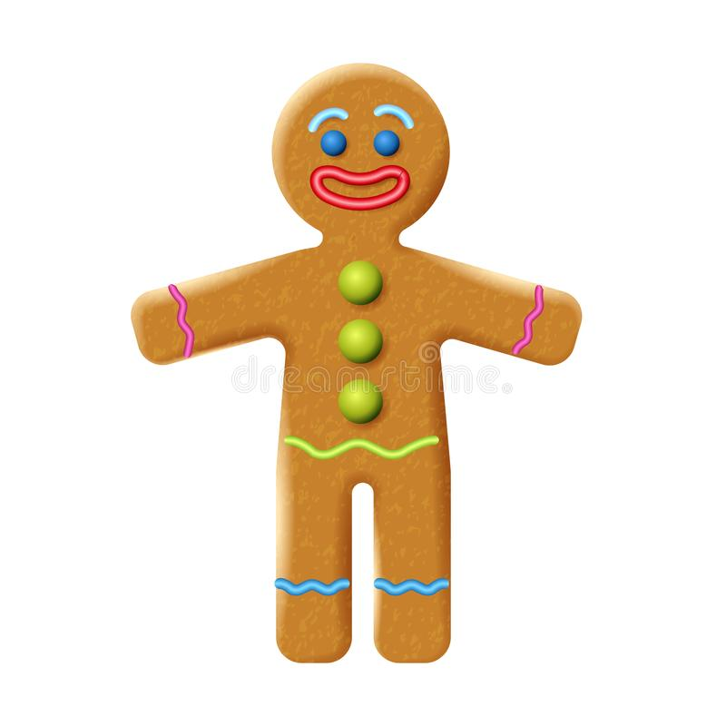 Gingerbread man isolated on white background. Holiday cookie in shape of stylized human. Gingerbread man isolated on the white background. Holiday cookie in royalty free illustration