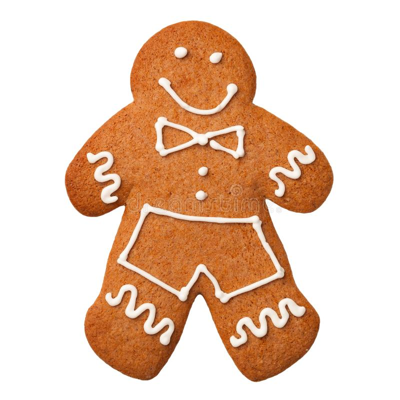 Gingerbread Man Isolated on White Background. Top view royalty free stock photos