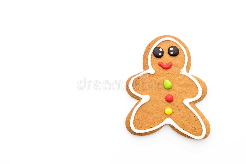 Gingerbread man isolated on white. Background royalty free stock photo