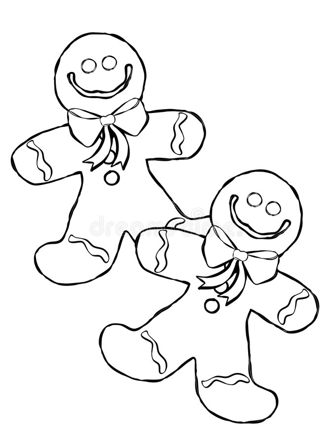 Gingerbread Man Line Art. An illustration featuring gingerbread man cookies casually arranged royalty free illustration