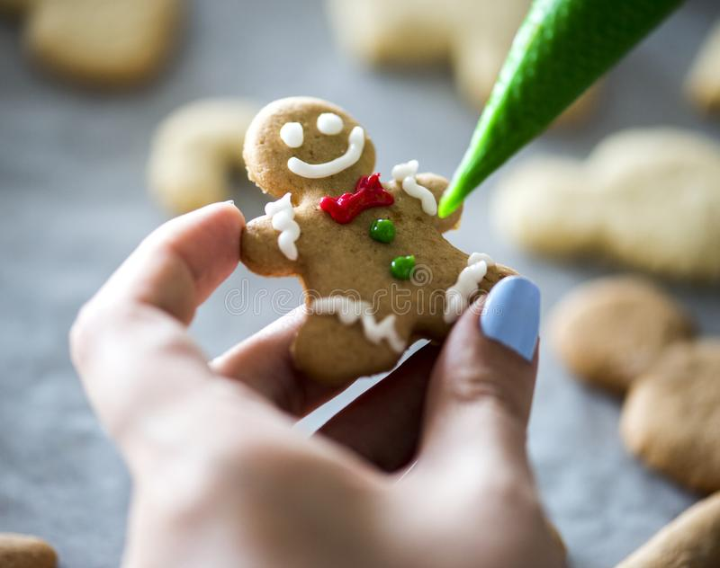 Gingerbread man in the making royalty free stock images