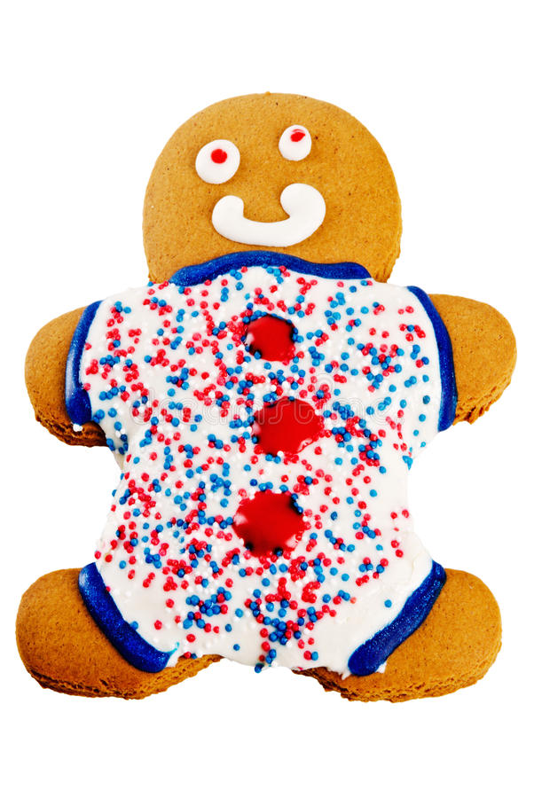 Gingerbread man. With a patriotic theme of red white and blue. Isolated white background stock photography