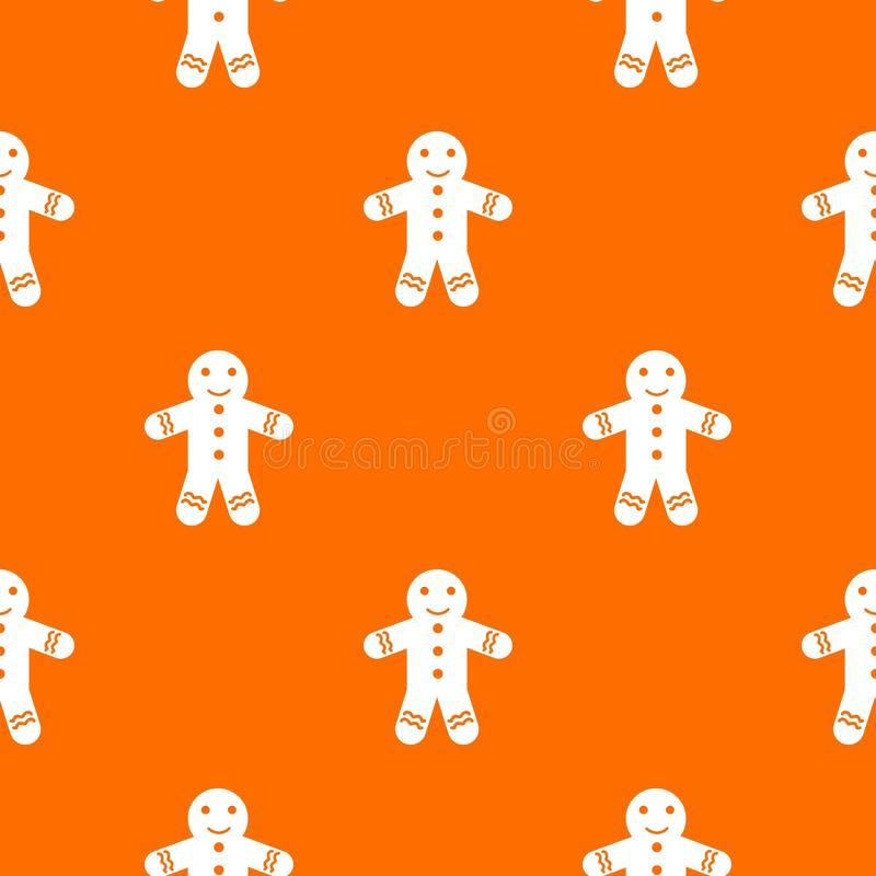 Gingerbread man pattern seamless. Gingerbread man pattern repeat seamless in orange color for any design. Vector geometric illustration vector illustration