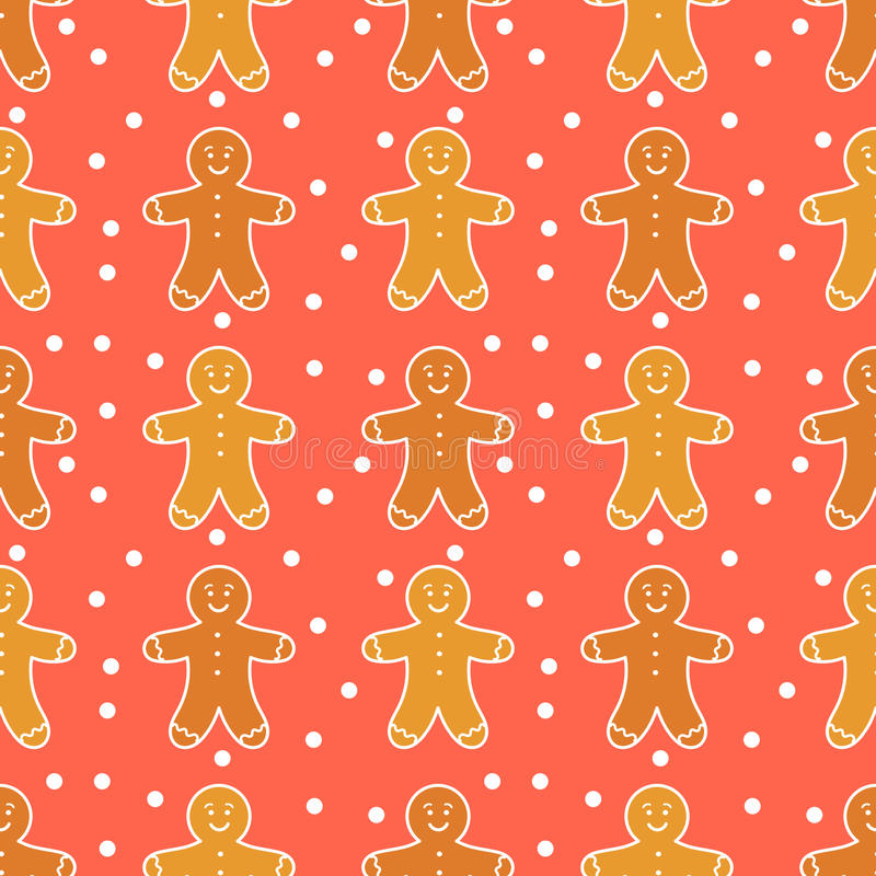 Gingerbread man pattern. Gingerbread man seamless pattern. Vector illustration royalty free illustration