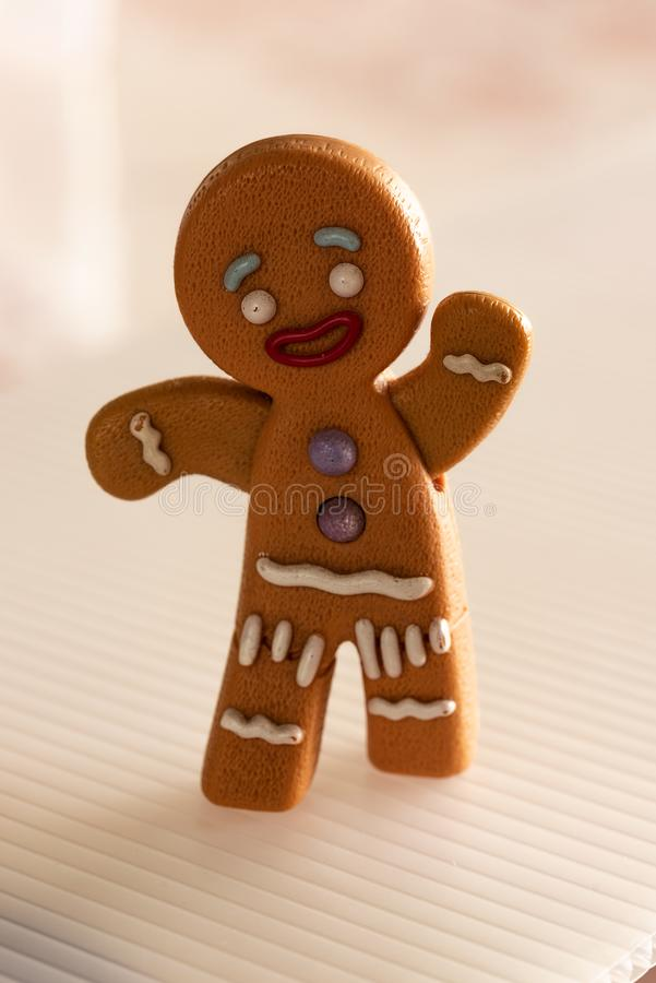 Gingerbread man running away. royalty free stock image