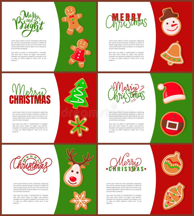 Gingerbread Man Santa Claus and Pine Tree Poster. S with text sample. Snowman and bell, spruce and belt hat, reindeer and cone bauble toy decoration stock illustration