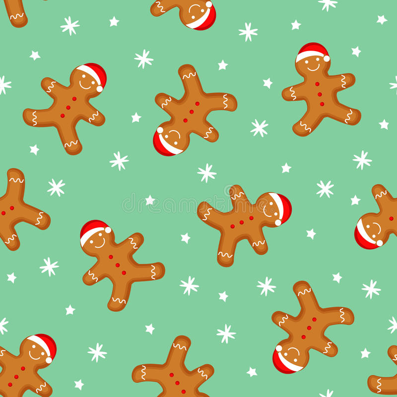 Gingerbread man seamless pattern. Cute vector background for new year's day, Christmas, winter holiday stock illustration
