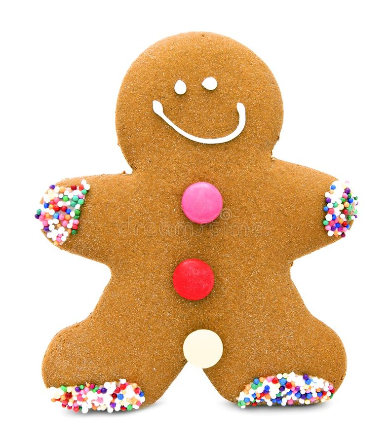 Gingerbread Man. Single Christmas gingerbread man cookie isolated on white stock photo