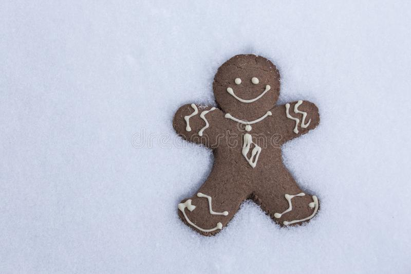 Gingerbread Man  in the Snow stock photos