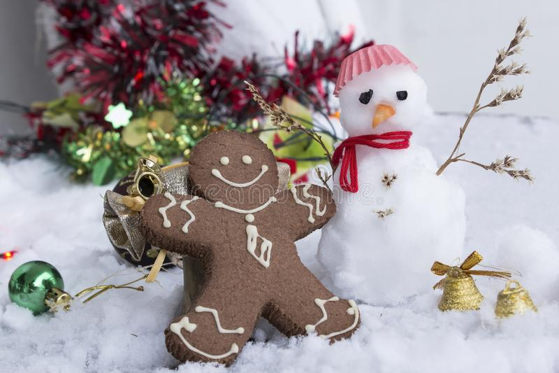 Gingerbread Man and Snowman stock photo