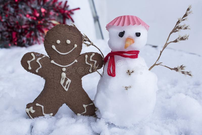 Gingerbread Man and Snowman royalty free stock photos