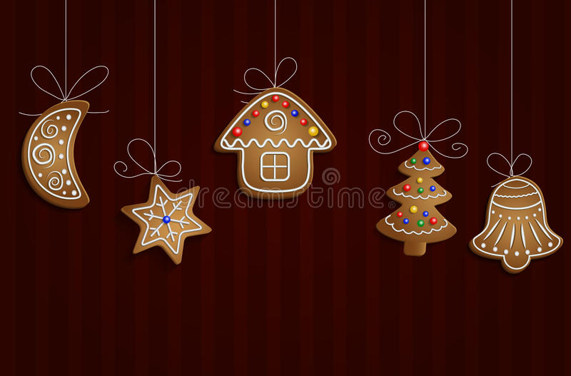 Gingerbread man tree and stars royalty free illustration