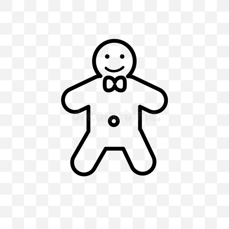 Gingerbread man vector linear icon isolated on transparent background, Gingerbread man transparency concept can be used for web an. D mobile royalty free illustration