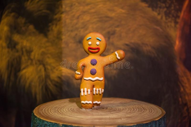 Gingerbread Man, wax sculpture, Madame Tussaud. Gingerbread Man is a fictional character from DreamWorks animated Shrek film series. Wax sculpture in museum of royalty free stock photo