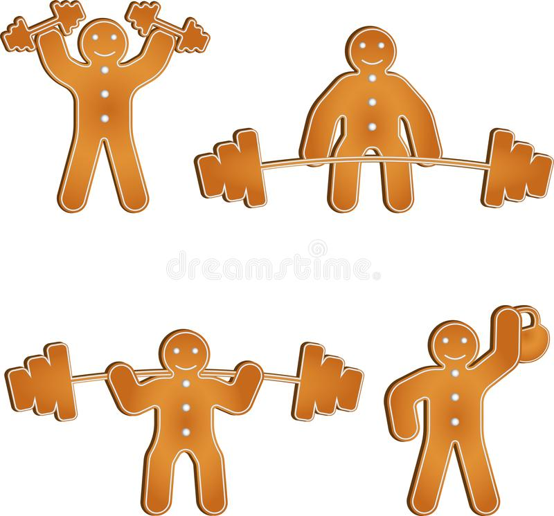 Gingerbread man works out at the gym royalty free illustration