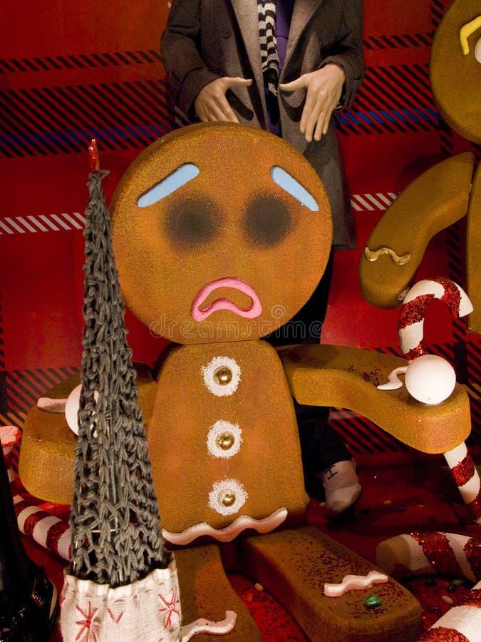 Gingerbread Men Christmas Display on Grafton Street, Dublin Ireland. royalty free stock photography