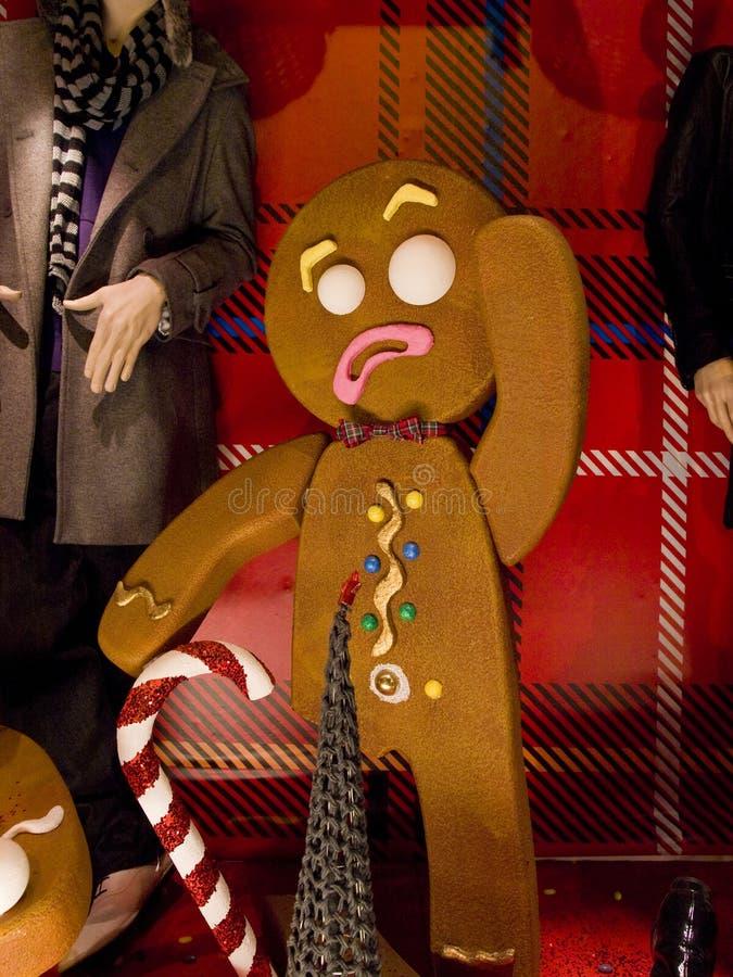 Gingerbread Men Christmas Display on Grafton Street, Dublin Ireland. royalty free stock images