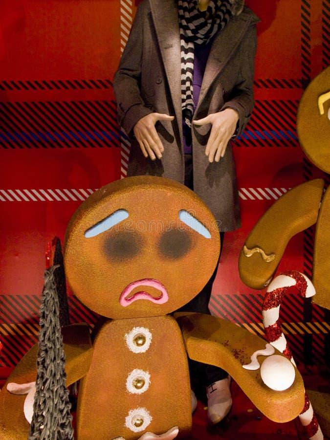 Gingerbread Men Christmas Display on Grafton Street, Dublin Ireland. royalty free stock photo